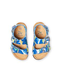 Sandálias azul-marinho com estampado tubarões bebé menino LBGNUREQUIN / 21KK385CD0E070