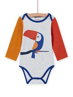 Body de mangas compridas multicor com padrão de tucano bebé menino MEGABODTOU / 21WH14C3BDLJ920