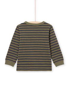 T-shirt de mangas compridas às riscas caqui e azul-marinho menino MOJOTIRIB3 / 21W90225TMLG631