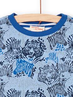 T-shirt reversível azul e branco - Criança Menino LOBLETEE1 / 21S902J1TMLC208