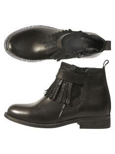Boots com franja couro preto criança menina GFBOOTTREP / 19WK35I6D0D090