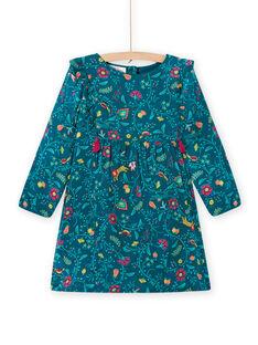 Vestido azul-pato em twill estampado florido menina MATUROB1 / 21W901K2ROB714