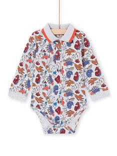 Body com gola, mangas compridas e estampado dinossauros bebé menino MUPABOD / 21WG10H1BOD943