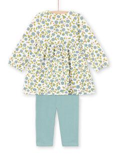 Conjunto vestido estampado florido e leggings cru e verde-água bebé menina MIKAENS / 21WG09I1ENS001