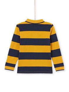 Polo amarelo e azul-marinho às riscas menino MOJOPOL5 / 21W90213POL113