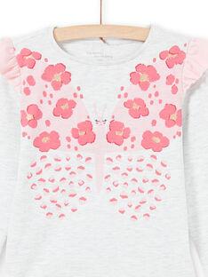 Conjunto pijama T-shirt e calças cru mesclado e rosa menina MEFAPYJFLY / 21WH1135PYJ006