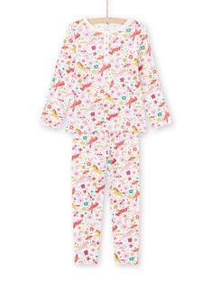 Conjunto pijama T-shirt e calças rosa e cru com estampado de unicórnios e fantasia menina MEFAPYJUNI / 21WH1186PYJ001