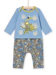 Conjunto T-shirt e calças com padrões animais da selva bebé menino MUKAENS / 21WG10I1ENS020