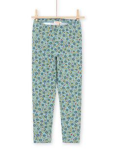 Leggings azuis e caqui estampado florido menina MYAKALEG1 / 21WI01I1CAL612