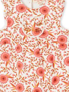 Macacão cru e rosa com padrões floridos bebé menina LINAUCOMB / 21SG09L1CBL001