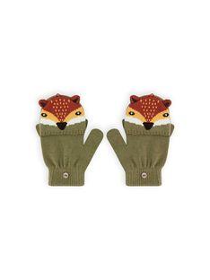 Luvas verde caqui com padrão de raposa menino MYOGROGAN5 / 21WI0265GAN628