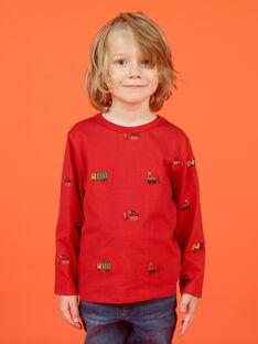 T-shirt mangas compridas vermelho estampado carro, trator e helicópteros menino MOCOTEE2 / 21W902L4TMLF521
