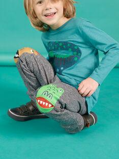 Calças de fato de treino em moletão cinzento mesclado menino MOTUJOG / 21W902K1JGBJ922