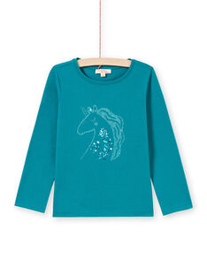 T-shirt turquesa escuro menina MAJOYTEE6 / 21W9012ATMLC217
