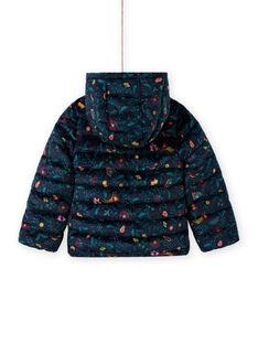 Blusão acolchoado estampado florido colorido em veludo menina MAVELDOUNE / 21W90154D3E070