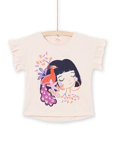 T-shirt mangas curtas rosa pálido com padrões menina e pavão menina MAPATI2 / 21W901H2TMCD319