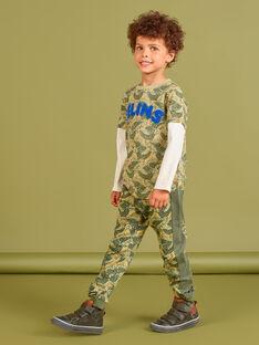 Fato de treino caqui estampado leopardo menino MOKAJOG2 / 21W902I2JGB612