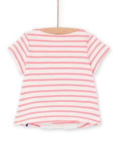 T-shirt rosa e branca às riscas bebé menina LIHATEEX / 21SG09X1TMC001