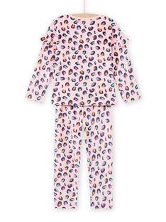 Conjunto pijama em veludo rosa com estampado pantera menina MEFAPYJBOX / 21WH1197PYJ309