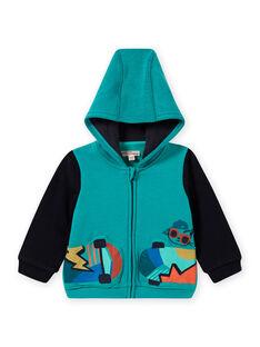 Casaco com capuz azul turquesa com padrão de skateboard bebé menino MUTUGIL / 21WG10K1GILC217