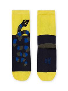 Meias amarelo e preto com padrão serpente menino MYOKACHO / 21WI02I2SOQ106