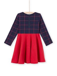 Vestido de mangas compridas bicolor azul noite e vermelho menina MAJOROB6 / 21W90125ROBC205