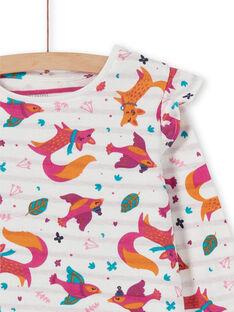 Camisa de dormir criança menina estampado raposas com leggings fúcsia LEFACHUBIC / 21SH1151CHN001