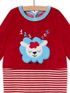 Babygro vermelho em veludo com padrão ovelha bebé menino MEGAGREMOU / 21WH1493GREF526