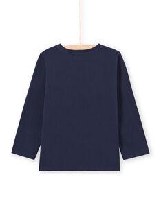 T-shirt de mangas compridas azul-noite padrão Amsterdam menino MOJOTEE4 / 21W90223TML705