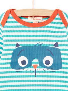 T-shirt de mangas compridas às riscas turquesa e branco padrão guaxinim bebé menino MUJOTEE2 / 21WG1023TMLC217