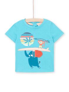 T-shirt de mangas curtas azul turquesa bebé menino LUBONTI1 / 21SG10W3TMC202