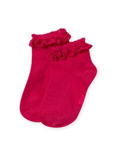 Meias rosa com folho em renda menina MYAESCHOD4 / 21WI01E6SOQF507