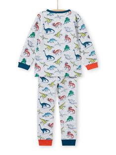 Conjunto pijama cinzento mesclado fosforescente com estampado dinossauro menino MEGOPYJAOP / 21WH1282PYJJ922