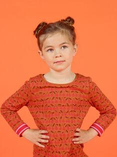 T-shirt de mangas compridas reversível camel e vermelho menina MACOMTEE4 / 21W901L4TML420