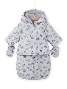 Macacão impermeável cinzento estampado decorativo recém-nascido unissexo MOU1PIL1 / 21WF0541PILJ920