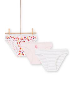 Lote de 3 cuecas rosa, branco e vermelho criança menina LEFALOTFRU / 21SH1127D5LF506