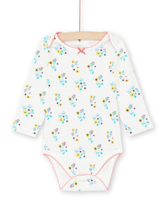Body cru e turquesa estampado florido bebé menina MEFIBODAOP / 21WH13B4BDL001