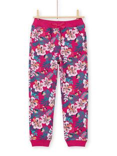 Calças de fato de treino rosa escuro e azul estampado florido menina MAJOBAJOG1EX / 21W90115JGBD312