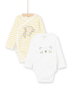 Lote de 2 bodies amarelo branco nascimento menino LOU1BOD2 / 21SF04H2BOD000