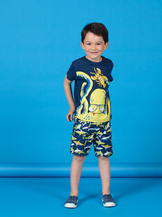 T-shirt azul com padrão polvo e lagosta - Criança Menino LONAUTI1 / 21S902P2TMC070