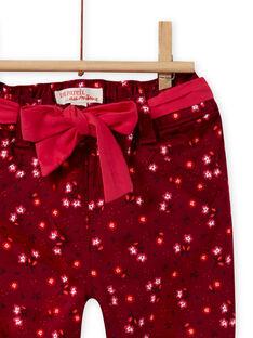Calças vermelho bordô estampado florido em cetim bebé menina MIFUNPAN1 / 21WG09M2PAN504