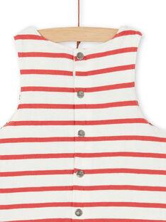 Jardineiras reversíveis cru e vermelho em algodão bebé menino LUNOSAL / 21SG10L1SAL001
