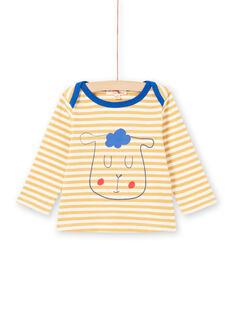 T-shirt de mangas compridas às riscas amarelo e branco padrão ovelha bebé menino MUJOTEE1 / 21WG1022TML117