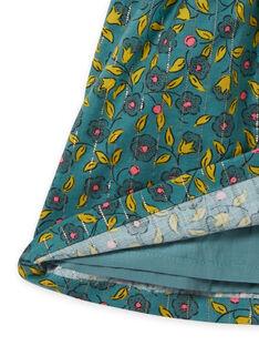 Vestido em flanela caqui com estampado florido e às riscas bebé menina MIKAROB1 / 21WG09I1ROB612
