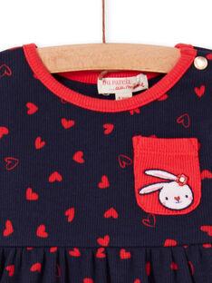 Vestido azul-marinho e leggings vermelhas bebé menina LIHAENS / 21SG09X1ENS070