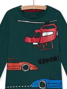 Conjunto de pijama em moletão verde com padrão de carros menino MEGOPYJCAR / 21WH1299PYJ060