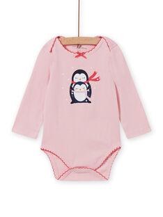 Body com mangas compridas rosa mesclado e padrão de pinguins bebé menina MEFIBODNEI / 21WH13C2BDLD314