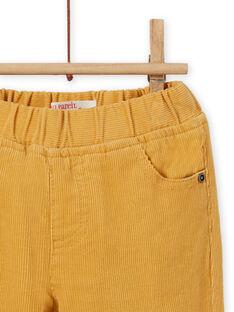 Calças amarelo em veludo canelado bebé menino MUJOPAN2 / 21WG1013PAN117