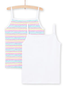 Lote de 2 camisolas de alças branco e multicor combináveis menina MEFADELIC / 21WH11B1HLI000