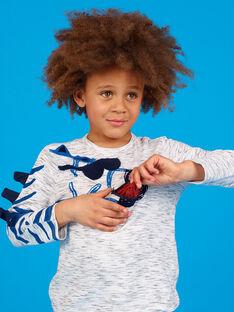 T-shirt cinzento mesclado com padrão zebra menino LOBLETEE3 / 21S902J2TMLJ920